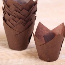 MINI Tulip muffin cups brown - Ø bodem 3.5 cm - 48 stuks
