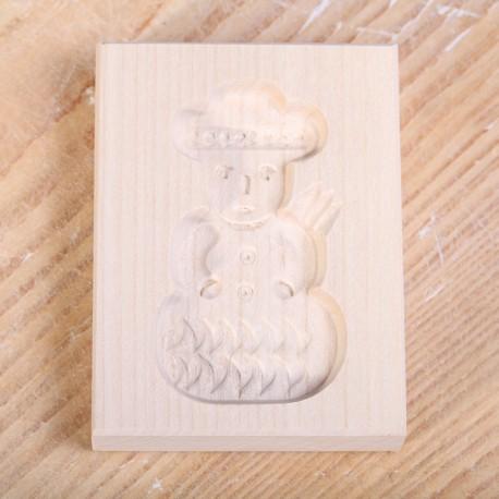 Wooden cookie mold snowman