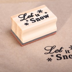 Wooden stamp  Let it Snow