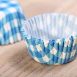 Mini cupcake cups blauw ruitje