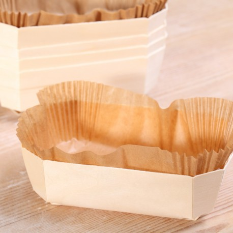 Bakeable wooden 500g basket with paper inlay