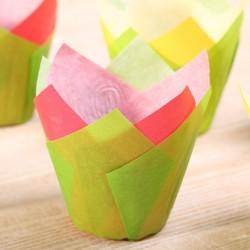 Tulip muffin cups Bollenveld mix - Ø bodem 5 cm 48 stuks
