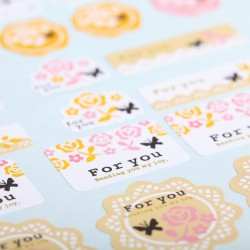 Flowery stickers 'For you'