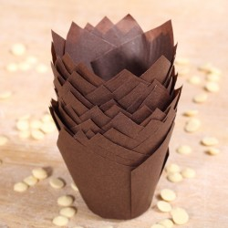 Tulip muffin cups chocolate brown - Ø bodem 5 cm