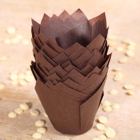 Tulip muffin cups chocolate brown - Ø bodem 5 cm - 48 stuks