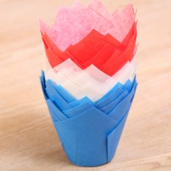 Tulip muffin cups Rood-wit-blauw