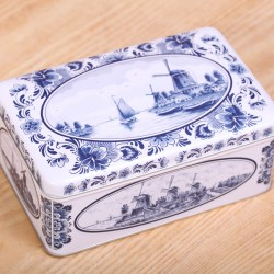 Cookie tin Delft blue windmills