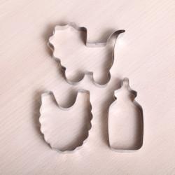 Cookie cutter set - Baby bib, bottle & pram