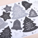 Merry Christmas  kado labels zwart/wit/grijs