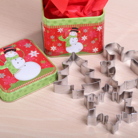 Tin 'Snowman red & green' with 3 cookie cutters