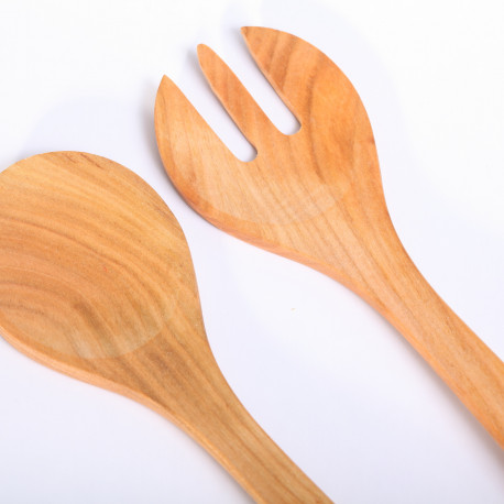 Salad server fork & spoon cherry wood
