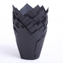 Tulip muffin cups Black - bottom Ø5 cm / 2 inches