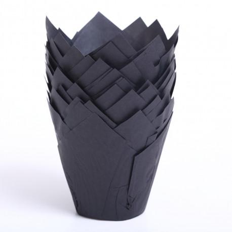 Tulip muffin cups Black - bottom Ø5 cm / 2 inches