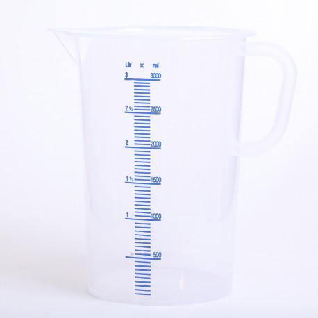 Maatbeker 3 liter kunsttof transparant