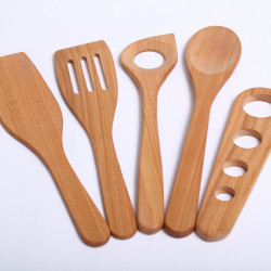 Salad server fork & spoon cherry wood
