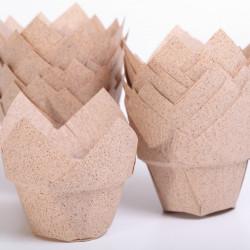 Nieuw! Lotus cups Cacao papier - Ø bodem 5 cm - 48 stuks