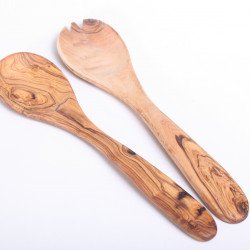 Salad server fork & spoon olive wood