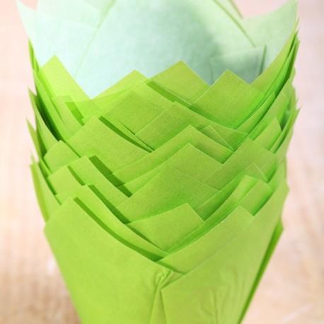 Tulip muffin cups Grass Green - Ø bodem 5 cm - 48 stuks