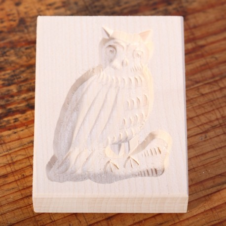 Cookie mold Owl maple wood