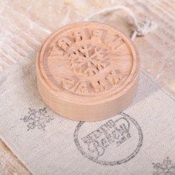 Cookie Stamp - Merry Xmas steamed beech wood