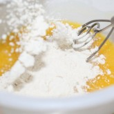 No knead brioche: Whisking eggs and flour with our trusty Danish dough whisk