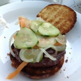 Hamburger ala Heston Blumenthal - it works - the most tasty burger ever, effortless eating plus home made pickles and bbq sauce