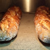 Baguettes on the stone floor of our Rofco oven