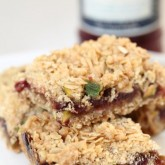 We made lots of crumble bars - this one with with oats, pistachio, raspberry jam and white chocolate is very nice.