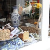 Lovely coffee pecan cake and rather stale scones at Anne of Cleves in Totnes