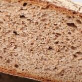 Whole wheat and rye sourdough miche crumb.