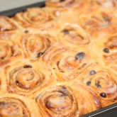Sunday morning cinnamon buns - glaze and eat!
