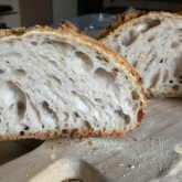 """Stefano Ferro - Sourdough bread I prepare my sourdough bread following your """"Sourdough pain naturel"""" recipe. I cook it in a dutch oven, a cast iron pot. I keep the lid on during the first 20 minutes, to create the crust, then I complete the cooking without the lid."""