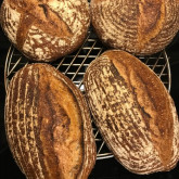 "Bas van Gestel  - Four loaves based on the recipe of ""our favourite whole wheat levain loaf"""