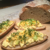 Michaela Malsbenden- First receipe from your site.I made a egg salate with cellery and pinnapple to enjoy the pain naturel