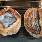 Stefano Ferro - sourdough loaves made with Manitoba and 10% spelt in Dutch oven