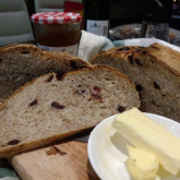 "Gengwai - I made a 55% wholewheat loaf with cranberries very loosely based on your ""loaf with toasted walnuts figs and prune"""