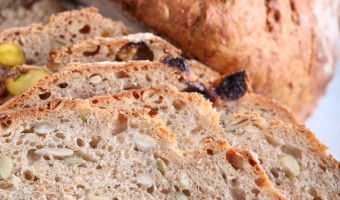 No Knead: Muesli Whole Grain Spelt Loaves with Cherries & Pistachios